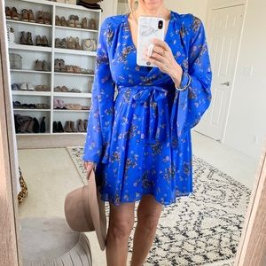 Free People Cheek Chiffon Lilou Printed Dress Blue